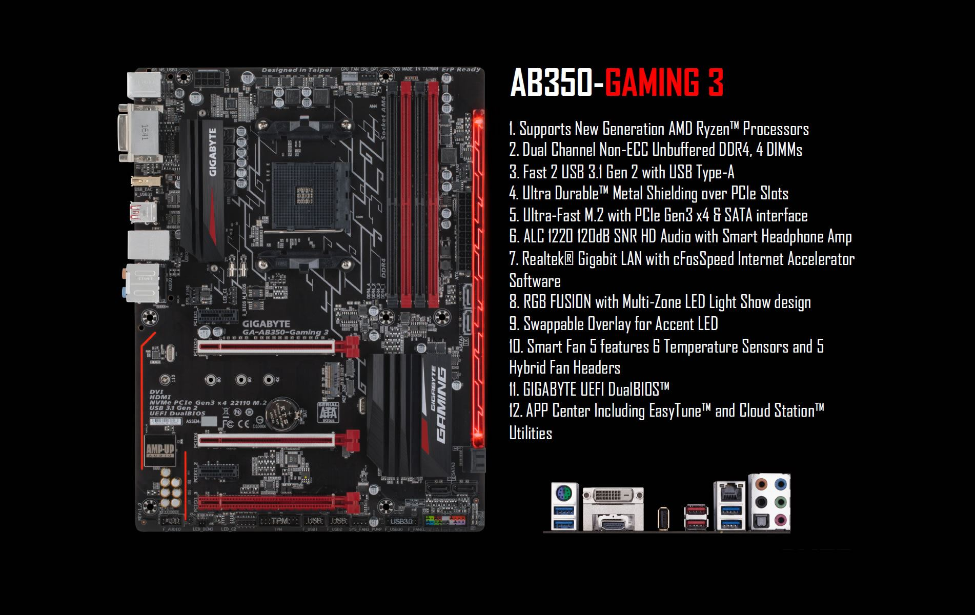 Gigabyte AB350 Gaming3 Aorus AM4 B350 Chipset ATX Motherboard overview